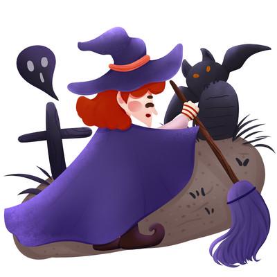 原创老巫婆蝙蝠万圣节元素