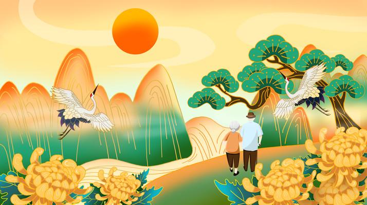 重阳节登高国潮风景图