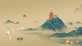 国画山水中国风工笔山水插画背景