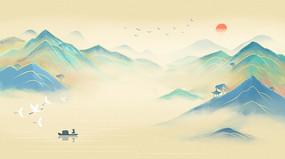 中国风工笔国画山水二十四节气插画背景