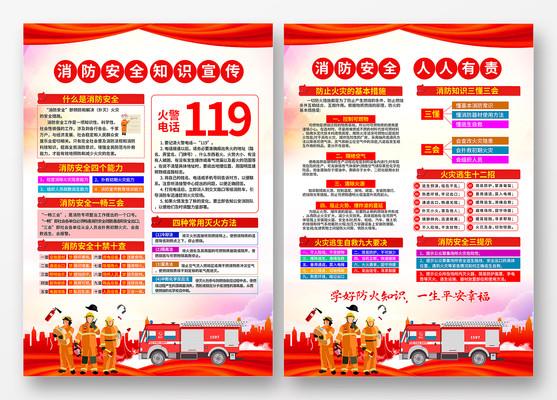关注消防安全知识宣传单设计