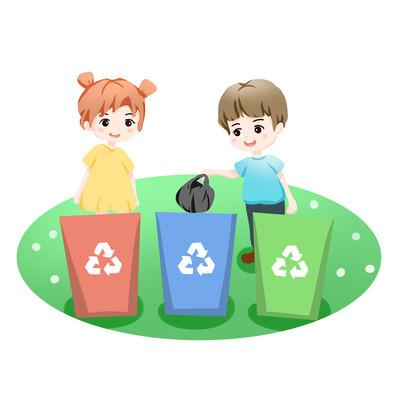 卡通儿童丢垃圾垃圾分类