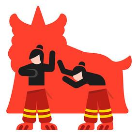 中国传统节日舞狮的表演人剪影