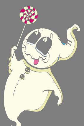 淡黄色幽灵布袋拿棒棒糖人物