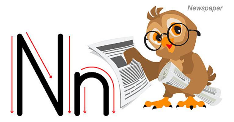 猫头鹰看报纸元素