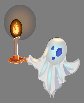 拿着蜡烛的透明幽灵