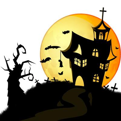 万圣节手绘元素黑色城堡