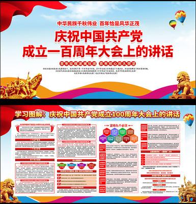 中国共产党成立100周年大会讲话精神展板