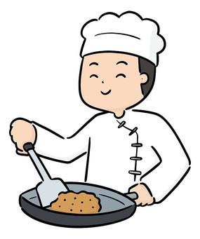 厨房煎牛排的厨师元素