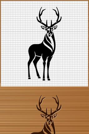 鹿矢量雕刻图