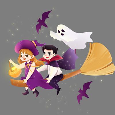 万圣节儿童女巫吸血鬼幽灵PNG素材