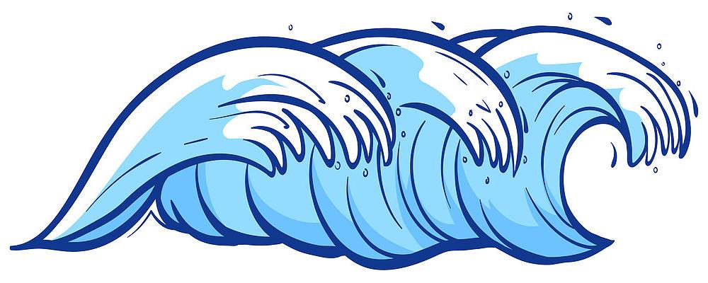 夏天蓝色海浪浪花形状