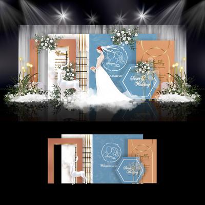 蓝橙色婚礼效果图设计婚庆舞台背景布置