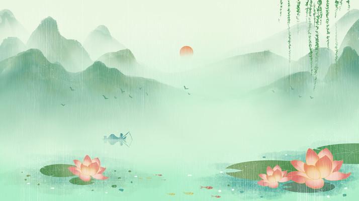 水墨夏天中国风山水墨画荷花荷叶插画背景