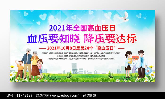 2021全国高血压日宣传展板图片