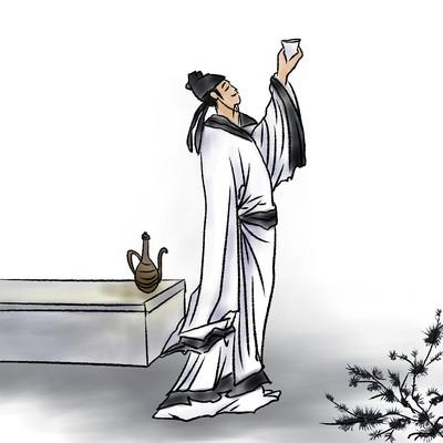 国风诗人文人古代人李白手举酒杯水墨画