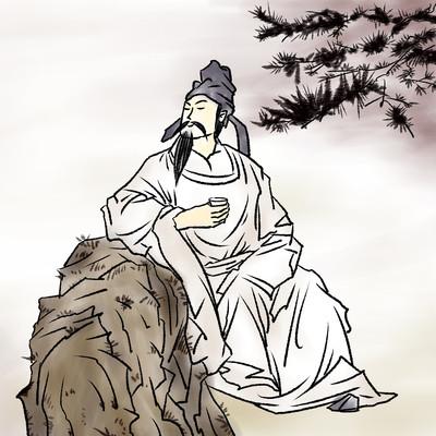 国风诗人文人古代人李白水彩水墨画
