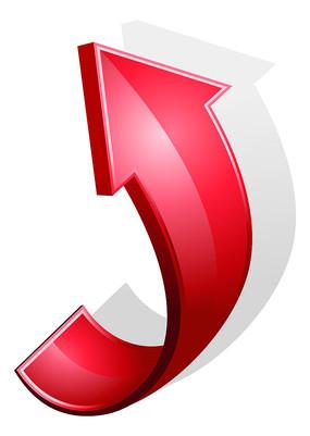 红色向上箭头方向标PNG素材