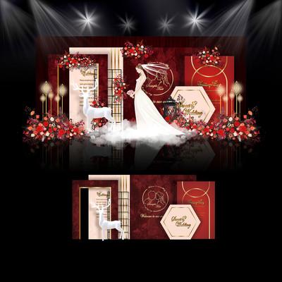 红色系泰式婚礼效果图设计婚庆舞台背景布置
