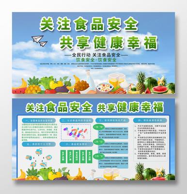 蓝色背景食品安全健康教育展板