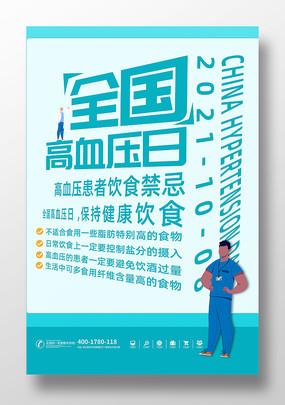 蓝色创意高血压日海报