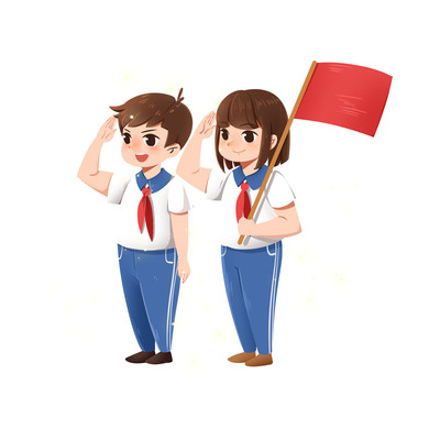 少先队员红领巾小学生敬礼PNG素材
