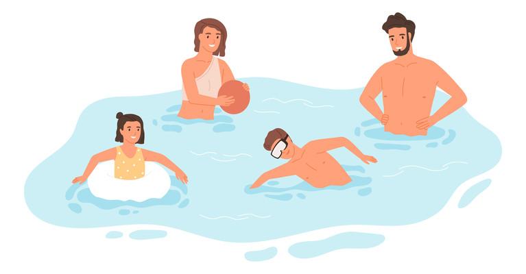 游泳卡通插画高清png免抠元素