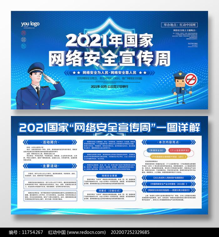 原创C4D2021国家网络安全周宣传展板图片