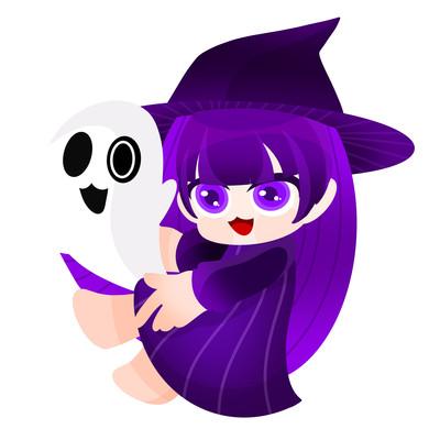 原创小女巫抓着幽灵万圣节