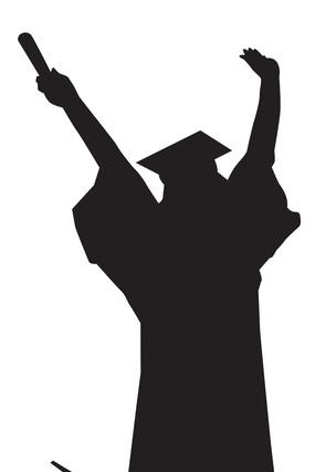 毕业季跳跃的女人剪影