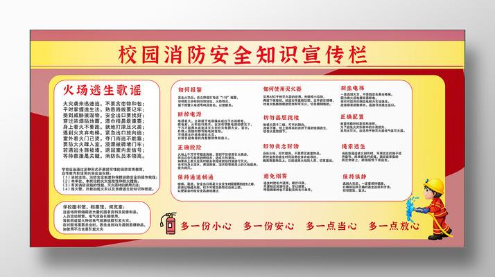 红色卡通校园消防安全知识宣传展板