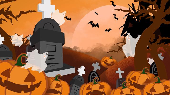 原创万圣节墓碑幽灵南瓜插画元素