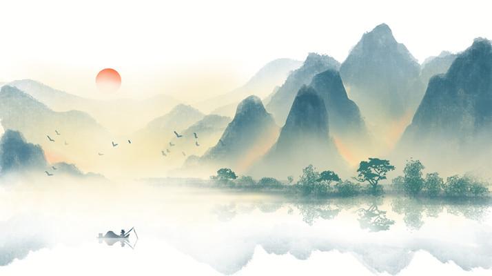中国风山水墨画桂林山水二十四节气插画背景