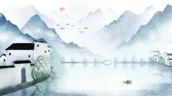 中国风山水墨画徽式建筑插画海报背景