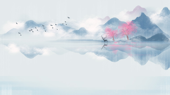 中国风山水墨画山水与鹿节气插画背景