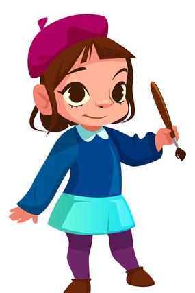 贝雷帽女孩拿着毛笔元素