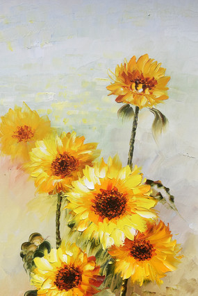 高清手绘向日葵油画玄关