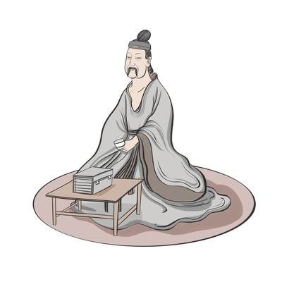国风诗人喝茶看书文人古代人