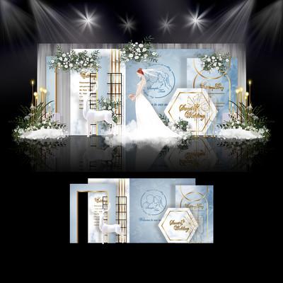 莫兰迪蓝白色婚礼效果图设计大理石婚庆舞台