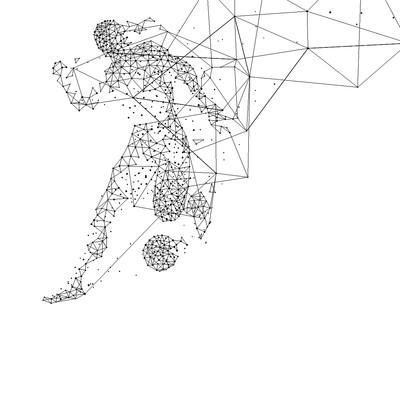 足球几何人物卡通线条背景
