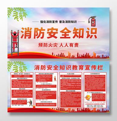 党建手绘消防安全知识宣传展板