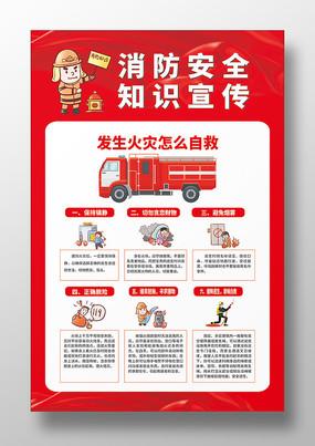 简约手绘卡通消防安全知识宣传海报红色