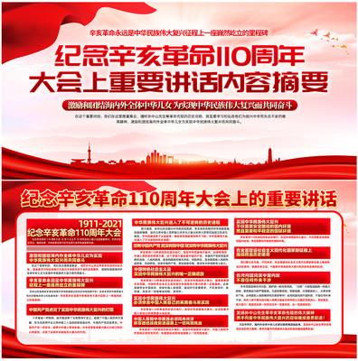 纪念辛亥革命110周年重要讲话宣传展板