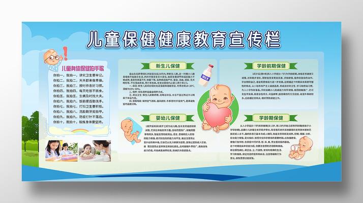 卡通儿童保健健康教育宣传栏展板