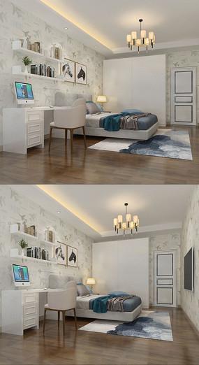 现代室内设计卧室家居3D模型