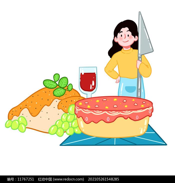 感恩节火鸡物品人物组合图片