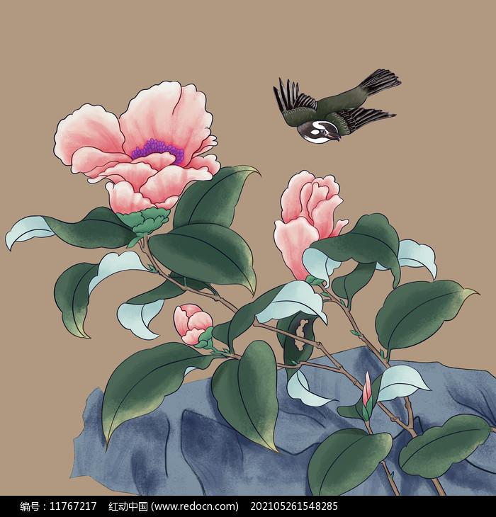 工笔画鸟和花图片