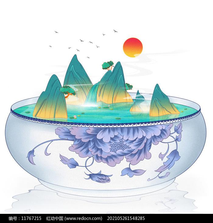 国潮国风国潮风山水物品结合图片