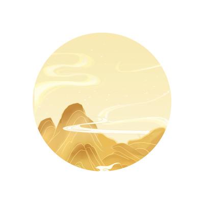 国风窗外黄色山脉云雾