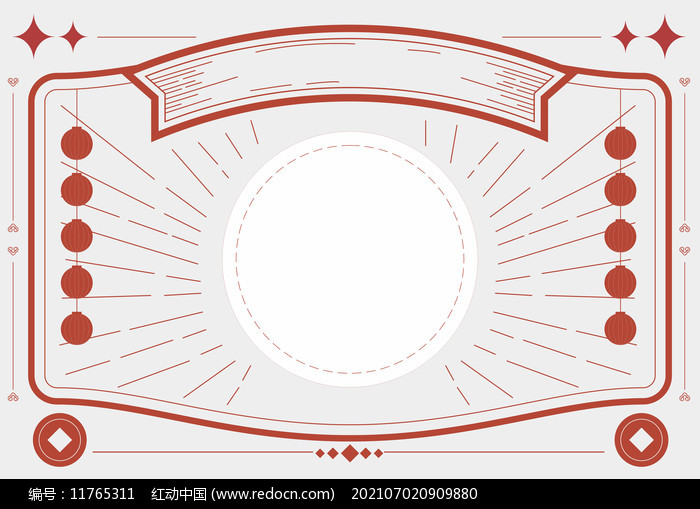 红色复古画报海报线描主题边框图片